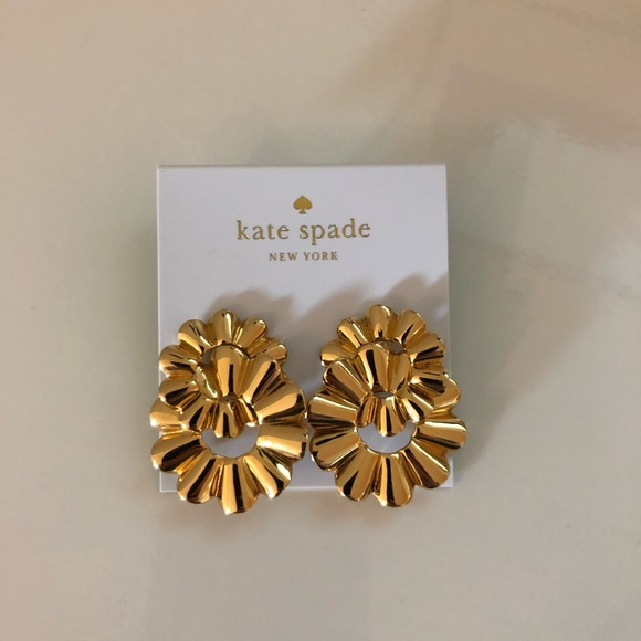kate spade Jewelry - Kate Spade Scrunched Scallop Gold Studs